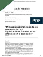 """""""Militancia Nacionalista en La Era Posperonista_ Las Organizaciones Tacuara y Sus Vínculos Con El Peronismo"""""""