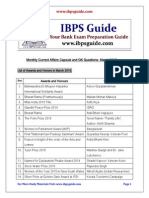 Monthly Current Affairs Capsule and GK Questions- March 2015 Download in PDF