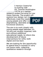 Call for 12-18 year olds to work on the Low Vision Devices Project - Call for All