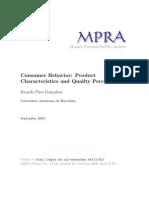 Product Characteristics and Quality Perception