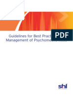 Best Practice Guidelines Management of Psychometric Tests