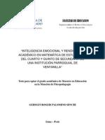 2010 Palomino Inteligencia Emocional y Rendimiento Académico en Matemática de Estudiantes Del Cuarto y Quinto de Secundaria de Una Institución p