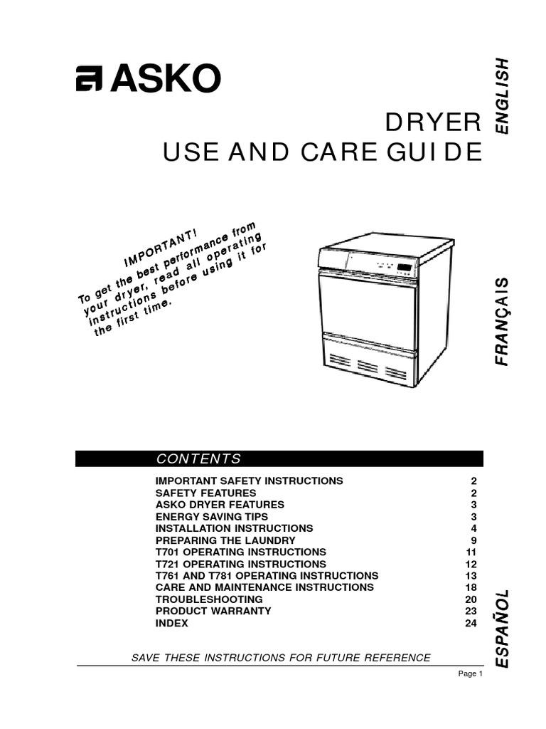 asko dryer instructions clothes dryer washing machine rh scribd com Dryer Plug Wiring Diagram Electric Dryer Wiring