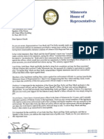 Letter from Rep. Dan Schoen to Speaker Daudt