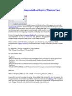 Langkah Cepat Mengembalikan Registry Windows Yang Rusak.doc