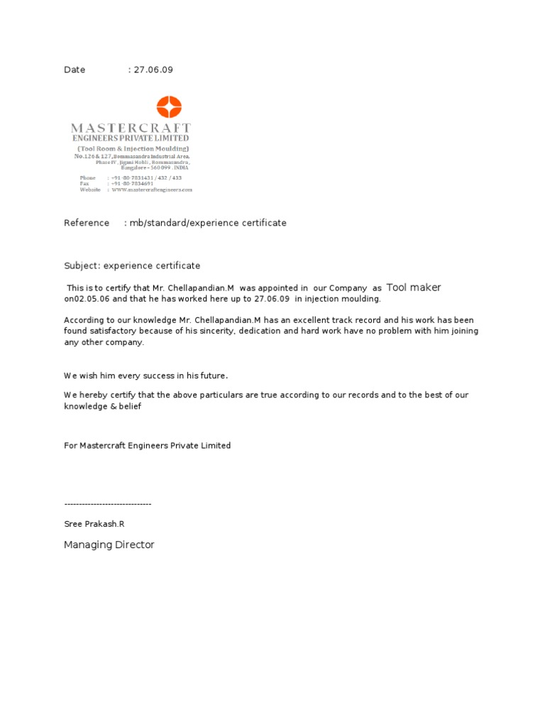 Relieving Letter Experience Certificate Format.  Experience Certificate