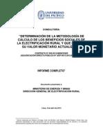 Metodologia de Calculo de Beneficios Sociales Electrifiacion Rural.