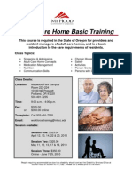 Adult Care Home Basic Training Flyer