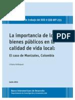 La Importancia de Los Bienes Públicos en La Calidad de Vida Local El Caso de Manizales Colombia