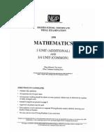 1998 Mathematics Extension 1 T NEAP NEAP