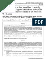 Conocimientos Sobre Salud Bucodental y Evaluación de Higiene Oral Antes y Después de Una Intervención Educativa en Niños de 9-10 Años