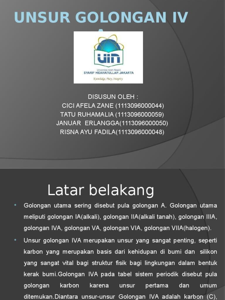 Unsur golongan iv apptx urtaz Gallery