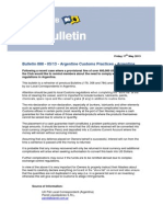 Bulletin 888 ARGENTINE CUSTOMS PRACTICES - FINE 2013 05 17 UK P&I