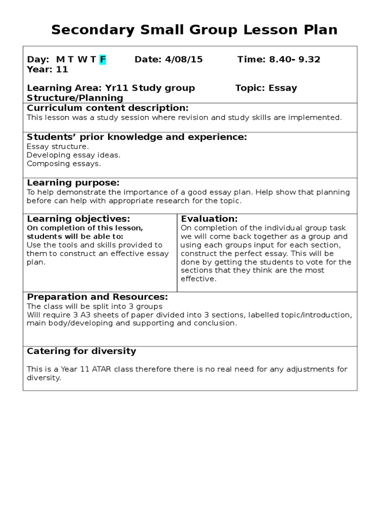 Science Fiction Essays  After High School Essay also Analysis Essay Thesis Secondary Small Group Lesson Plan  Essays  Lesson Plan Proposal Example Essay