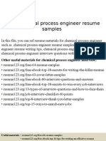 Chemical Process Engineer Resume Samples