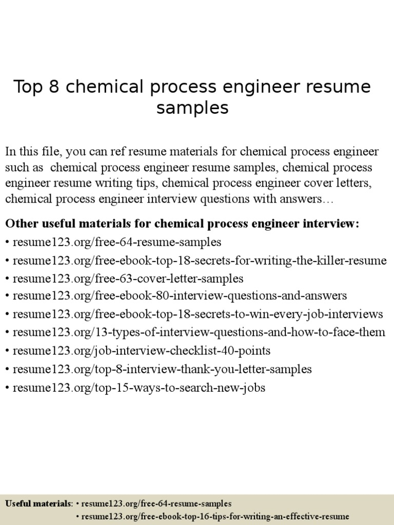 Chemical Process Engineer Resume Samples | Résumé | Engineer