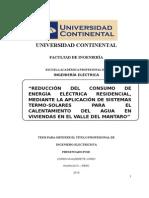 REDUCCIÓN DEL CONSUMO DE ENERGÍA ELÉCTRICA RESIDENCIAL, MEDIANTE LA APLICACIÓN DE SISTEMAS TERMO-SOLARES PARA EL CALENTAMIENTO DEL AGUA EN VIVIENDAS EN EL VALLE DEL MANTARO