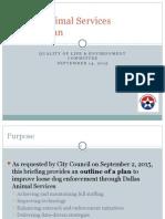 QoL 2 Dallas Animal Services Action Plan Briefing 09142015