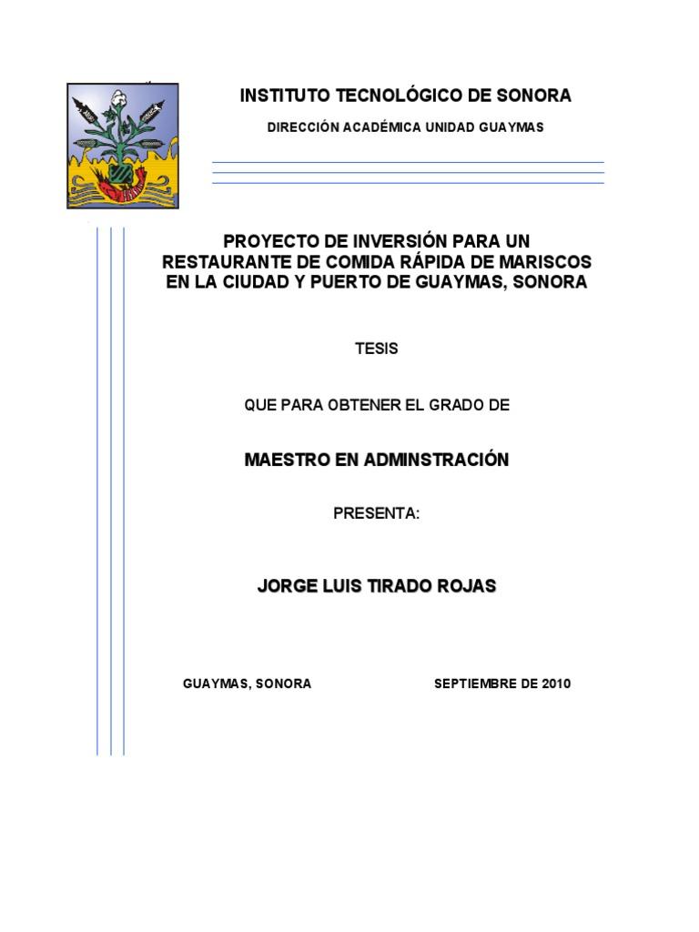 Proyecto de Inversion Restaurante de Mariscos Comida Rapida Bueno