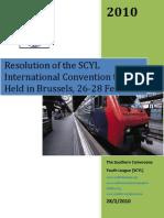 SCYL Press Release. Belgium 2010