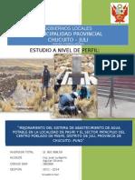 MEJORAMIENTO DEL SISTEMA DE ABASTECIMIENTO DE AGUA POTABLE EN LA LOCALIDAD DE PASIRI