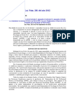 Ley 281 de 2012 - Enmendando Ley 96