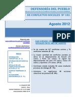 Reporte Mensual de Conflictos Sociales N 102 Ago 12 DEFENSORIA DEL PUEBLO