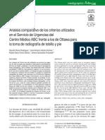 Análisis Comparativo de Los Criterios Utilizados en El Servicio de Urgencias Del Centro Médico ABC Frente a Los de Ottawa Para La Toma de Radiografía de Tobillo y Pie