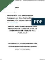 Faktor-Faktor Yang Mempengaruhi Kegagalan Dan Keberhasilan Sistem Informasi Pada Sebuah Perusahaan _