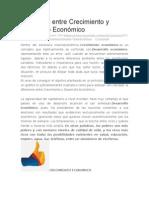 Diferencia Entre Crecimiento y Desarrollo Económico