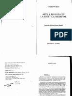 Eco La Sensibilidad Estetica Medieval en Arte y Belleza en La Estetica Medieval