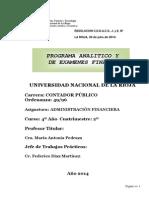 Programaadministracion Financiera Analitico y Final 2014