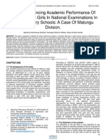 Factors Influencing Academic Performance of Standard Eight Girls in National Examinations in Public Primary Schools a Case of Matungu Division