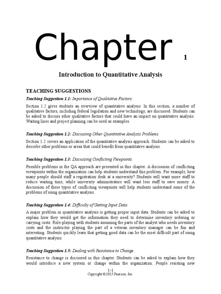 Solution Manual for Quantitative Analysis for Management 12th – Quantitative Analysis