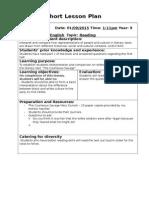 short lesson plan secondary