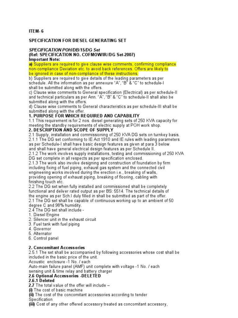 Specification For D G Set 250 Kva Diesel Engine Engines Kel Alternator Wiring Diagram