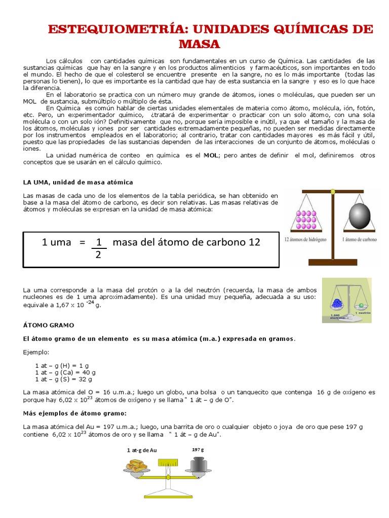 Estequiometría Unidades Químicas de Masa
