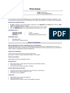 Fresher Resume Sample Computer Science Personal Computers