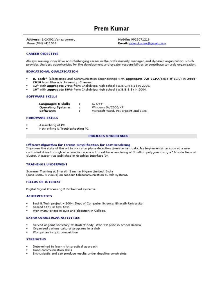 Fresher Resume Sample  Resume For Computer Science