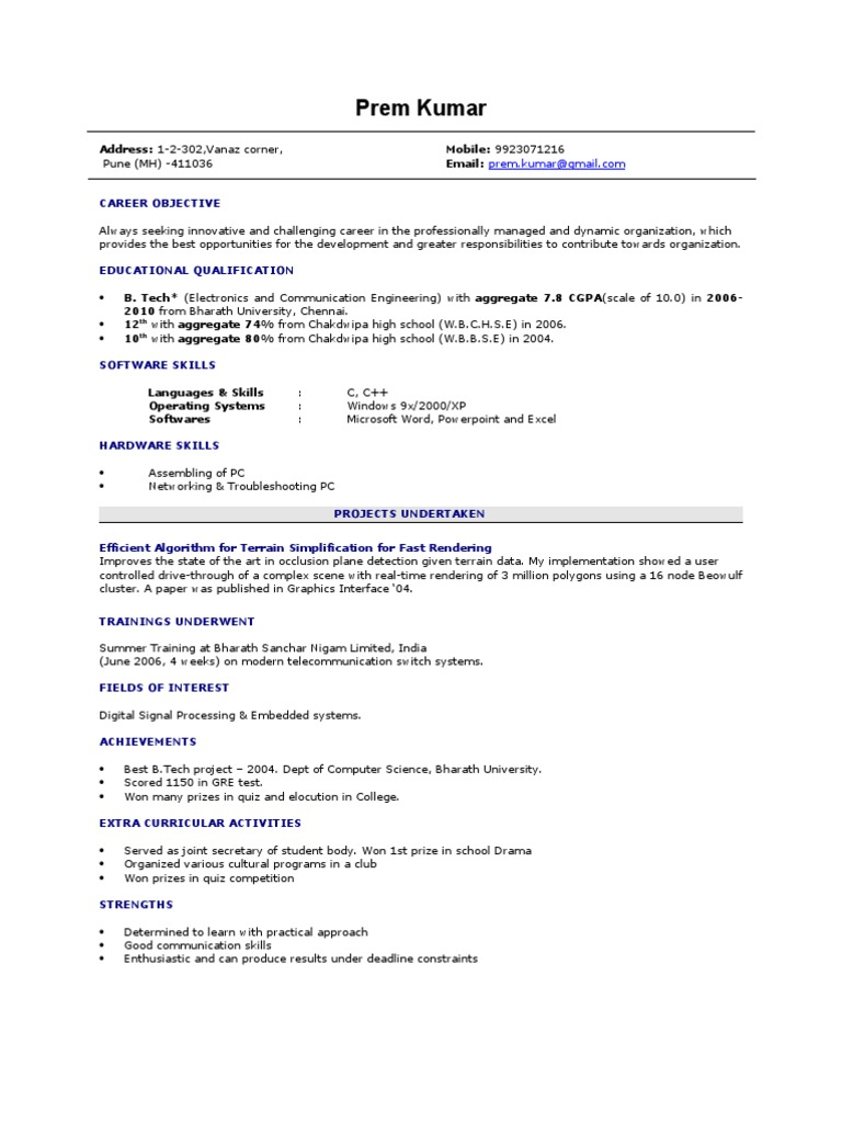 resume Resume For M Tech Freshers fresher resume sample