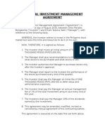 Personal Investment Management Agreement