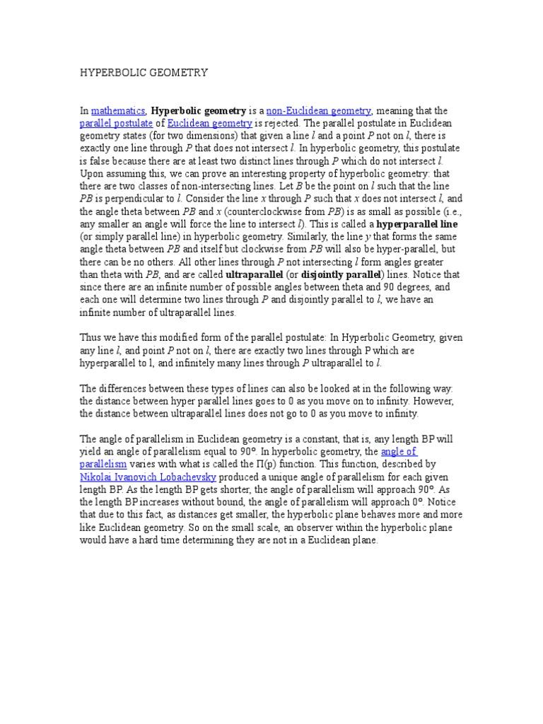 Hyperbolic Geometry | Hyperbolic Geometry | Spacetime