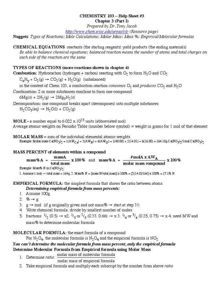 Chemistryhelpsheet Mole Unit Chemical Reactions