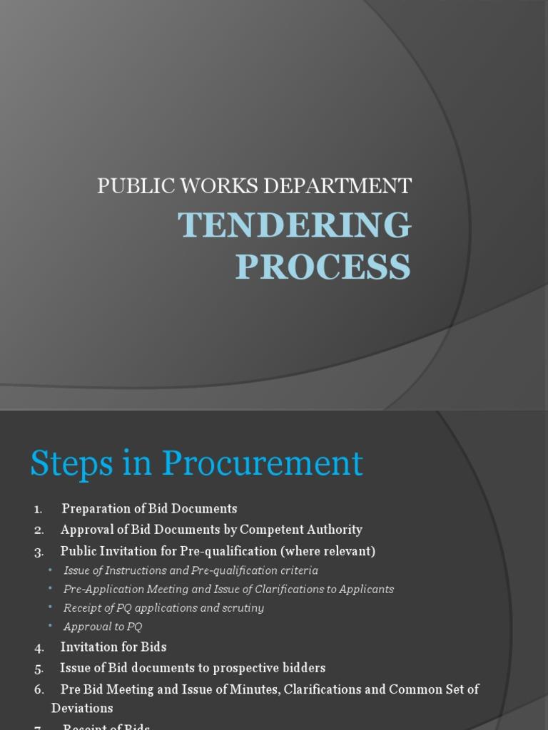 TENDERING PROCESS pptx | Joint Venture | Construction Bidding