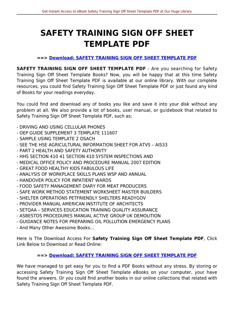 Safety Training Sign Off Sheet Template | E Books | Portable ...