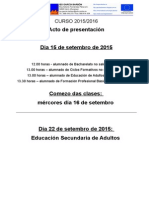 Comezo de Clases 2015_2016