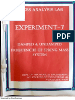 Undamped and Damped Vibrations Experimental Procedure