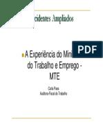 Acidentes Ampliados - A Experiência Do Ministério Do Trabalho e Emprego - 01206 [ E 1 ]