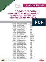 Lista de Docentes Pensionados ME Septiembre 2015 - Notilogia