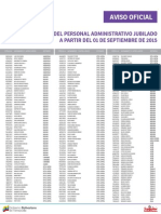 Lista de Personal Administrativo Jubilados ME Septiembre 2015 - Notilogia